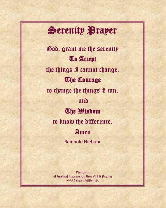 8x10 Serenity Prayer